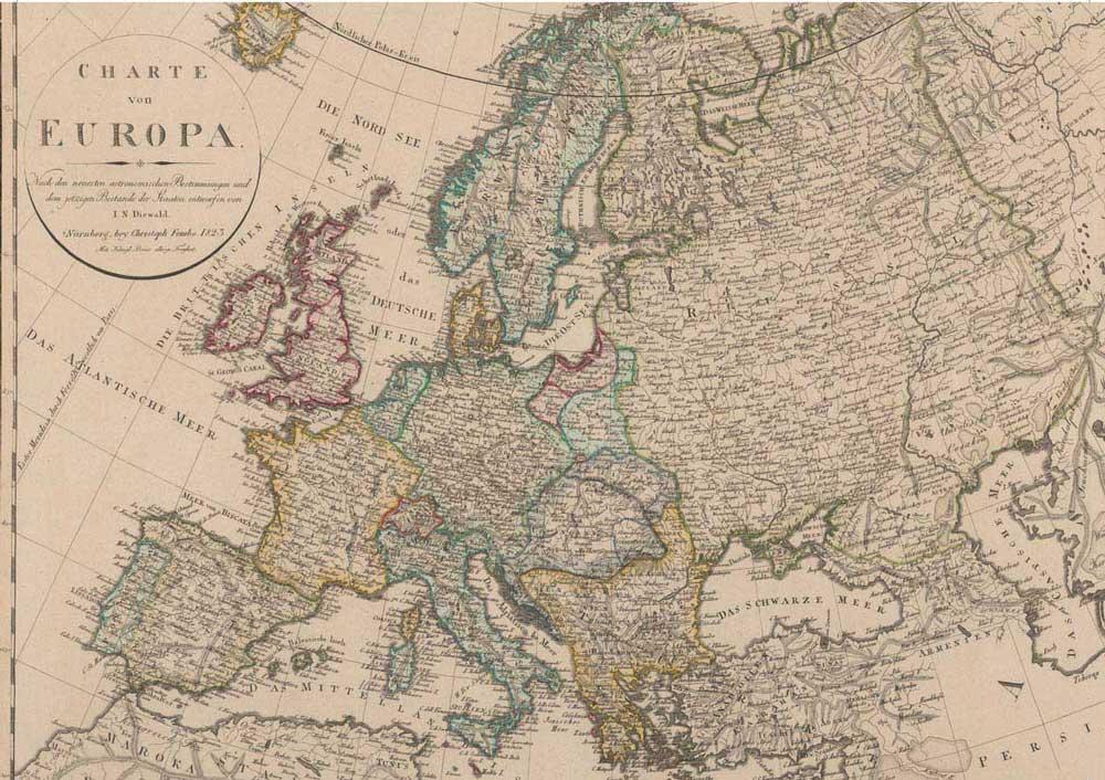 Kart over Europa fra Mensen Ernst sin tid, innsiden av omslaget på Løperkongens skygge