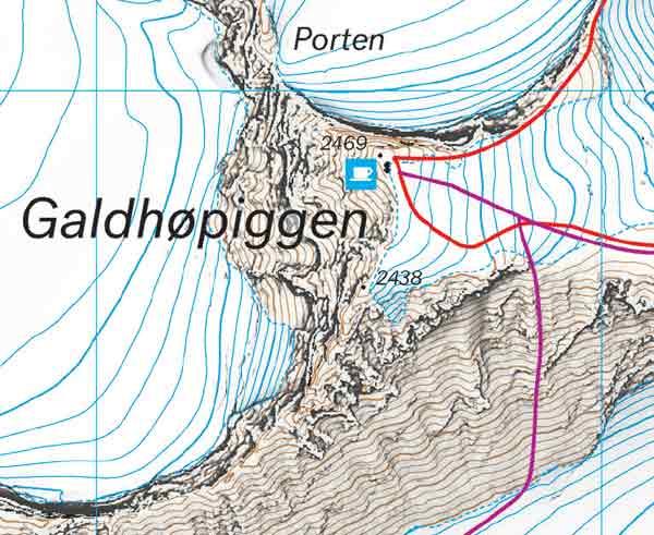 Galdhøpiggen høyfjellskart eksempelbilde