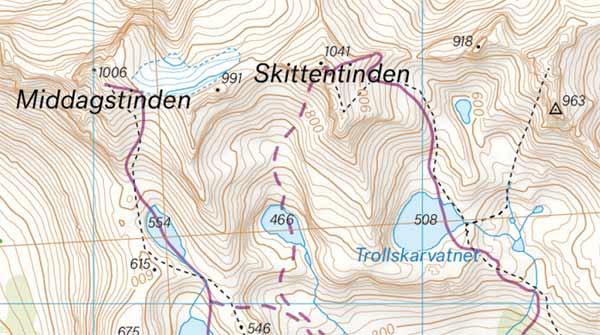 Troms og omegn tur- og toppturkart - eksempelbilde
