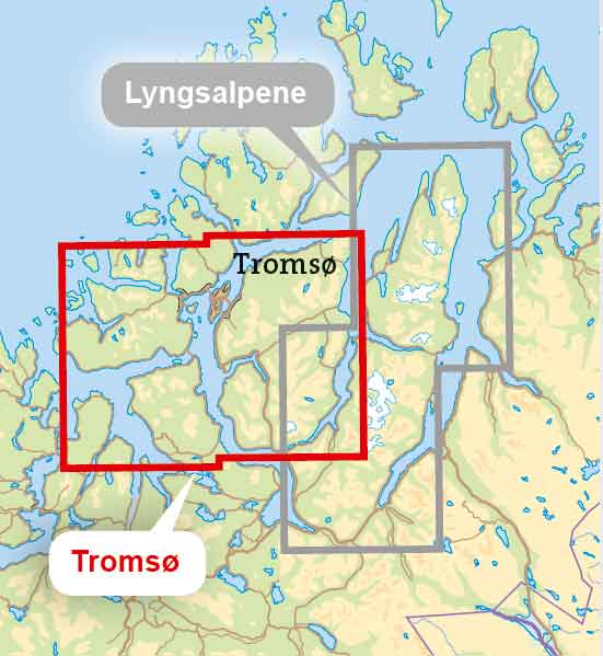 Troms og omegn tur- og toppturkart - omfang