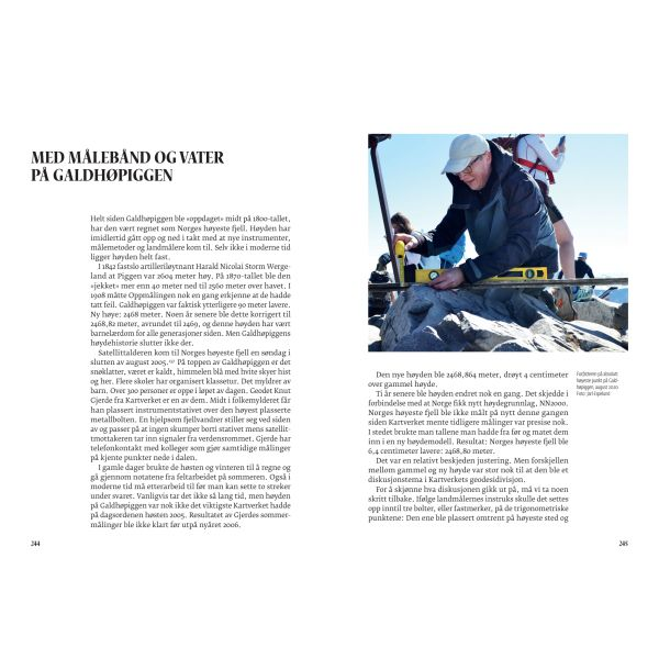 Oppslag fra boken Høyde over havet - måling av Galdhøpiggen