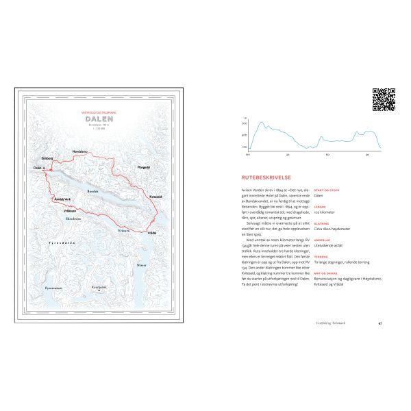 Kart og GPS. Boken gir deg fine kart og GPS-spor til Norges vakreste sykkelturer
