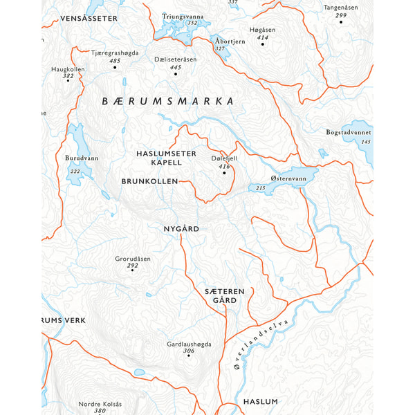 Kartutsnitt Brunkollen fra sykkelkartet Krokskogen og Bærumsmarka