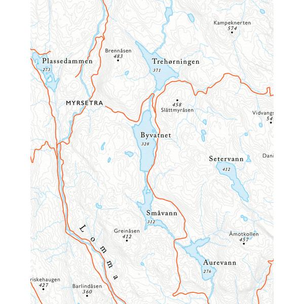 Kartutsnitt Myrsetra fra sykkelkartet Krokskogen og Bærumsmarka