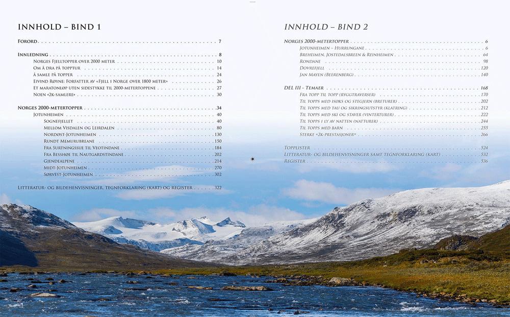 Norges fjelltopper over 2000 meter - Innholdsfortegnelse