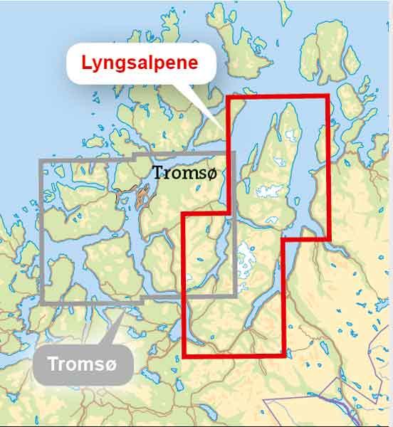 Kartet over Lyngsalpene, utsnitt