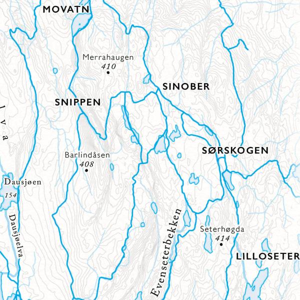Utsnitt Kart Sinober i Nordmarka