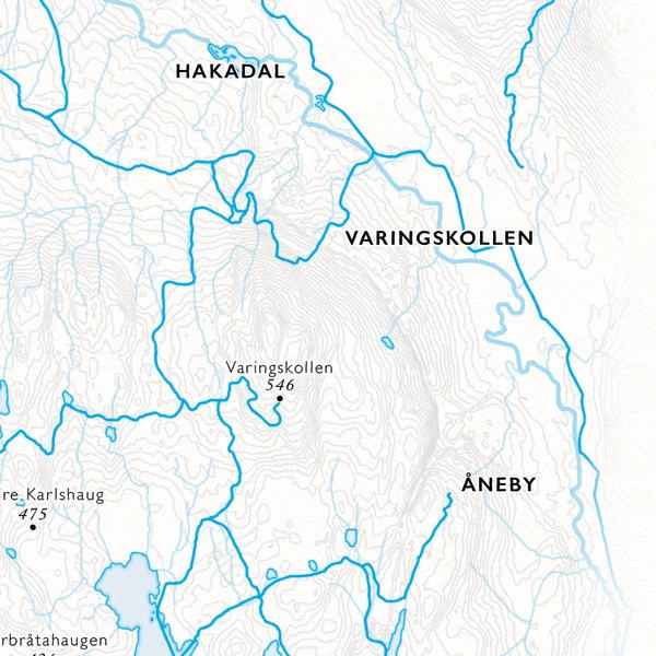 utsnitt kart Varingskollen, Nordmarka