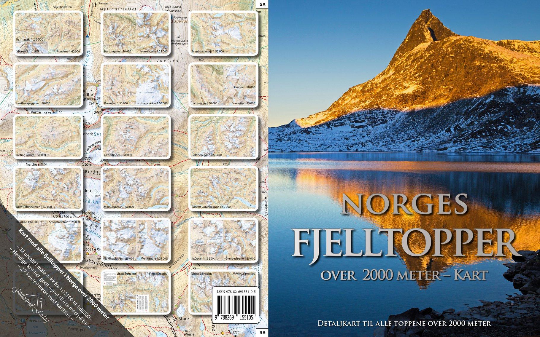 Norges fjelltopper over 2000 meter - kartpakke oversikt