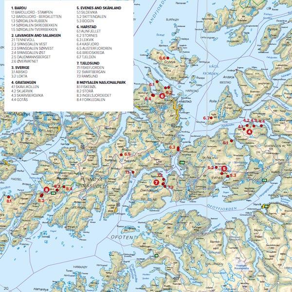 Boken inkluderer kart og oversikt over hele regioner