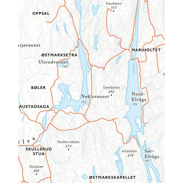 Utsnitt Østmarksetra sykkelkart Østmarka