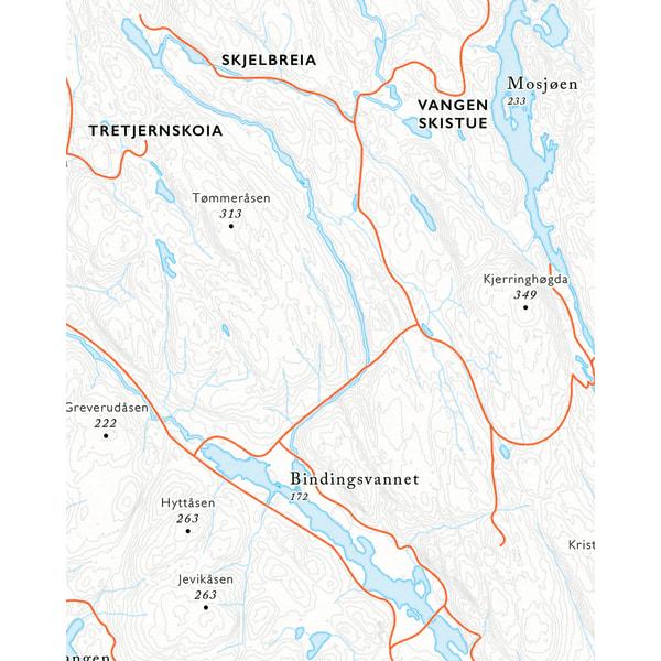 Utsnitt Vangen sykkelkart Østmarka