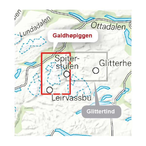Galdhøpiggen høyfjellskart omfangsbilde