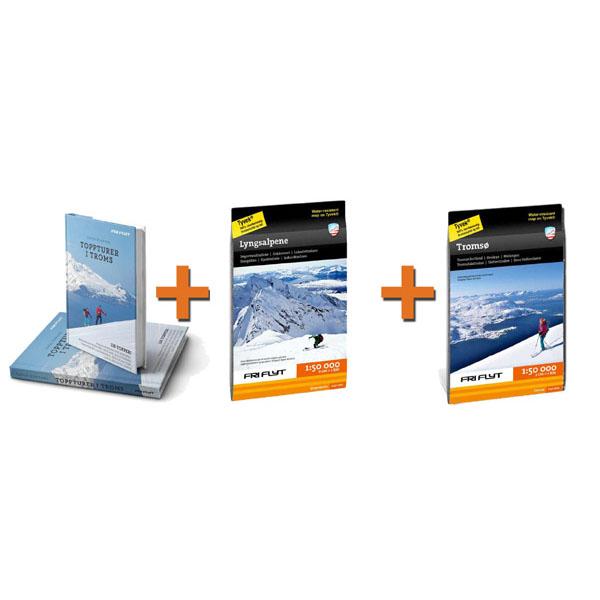 Toppturpakke Troms og Lyngen med bok og to kart
