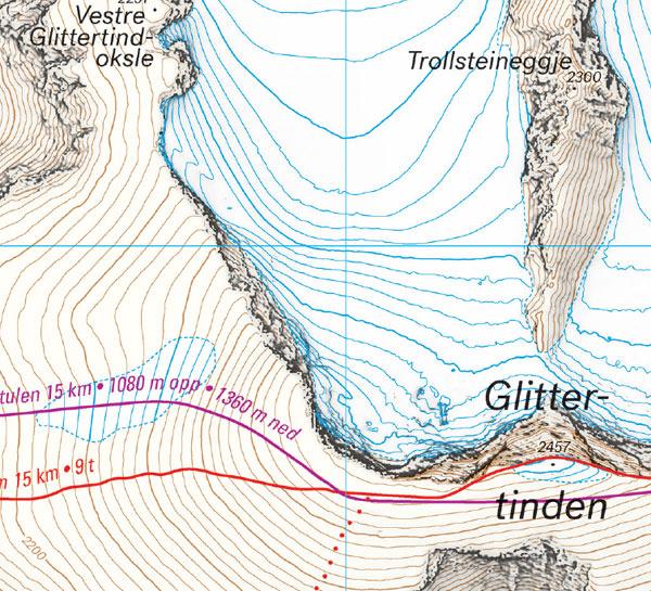 Høyfjellskart Glittertind eksempelbilde